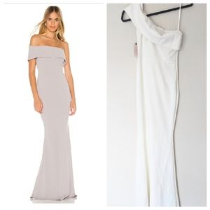NEW KATIE MAY Titan Ivory/White Off Shoulder Gown